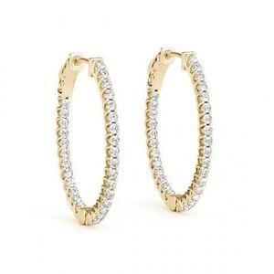 1-2-Inch-Lucida-Oval-Hoop-Huggie-Earrings-2-00-Ct-Diamonds-14k-Yellow-gold-Cheap