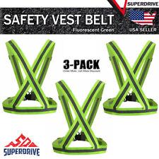 3 Pack Adjustable Safety Running High Visibility Reflective Vest Gear Strap Belt