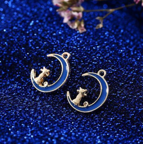10pcs Goutte d/'Huile Alliage Pendentif Lune chat bracelet collier boucle d/'oreille À faire soi-même Accessoires