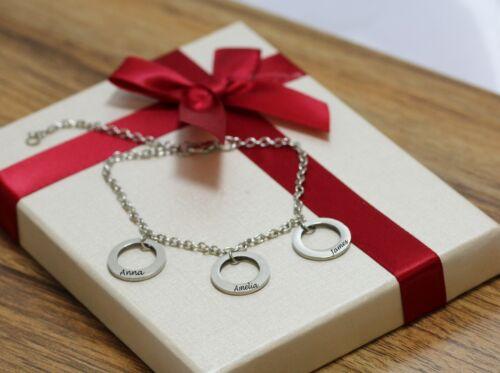 Personalizado Grabado Nombre 3 Anillo pulsera con dijes de plata plateado regalo de Día de las Madres