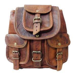 Vintage-Genuine-Leather-Drawstring-12-034-Hiking-Backpack-Travel-Rucksack-Brown-Bag