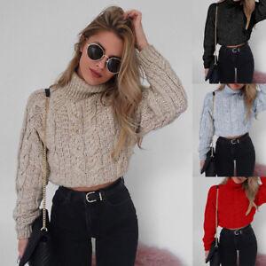 Women-Ladies-Turtleneck-Sexy-Crop-Tops-Knitted-Pullover-Sweater-Knitwear-Jumper