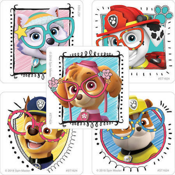 25 Paw Patrol Funny Eyeglass Stickers Party Favors Teacher Supply Skye  Marshall