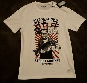 cute cheap best cheap discount Details about ONLY AND SONS T-Shirt Mens Original White Japanese Theme  Men's Size M Medium