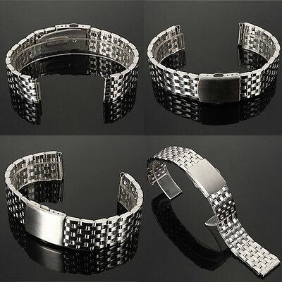 18-22mm Stainless Steel Watch Band Strap Bracelet & Push Button Double Flip Lock
