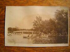 1915 RPPC real photo postcard SPRINGFIELD MISSOURI canoes on lake at DOLING PARK