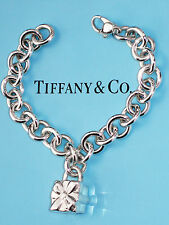 Tiffany & Co Bow Box Present Padlock 7.25 Inch Charm Sterling Silver Bracelet