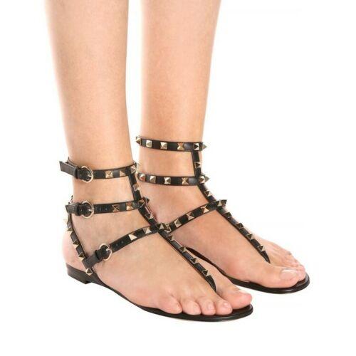 Femme Fashion String Rivets Bride Cheville Plat Plage Sandales Gladiateur Chaussures Ame