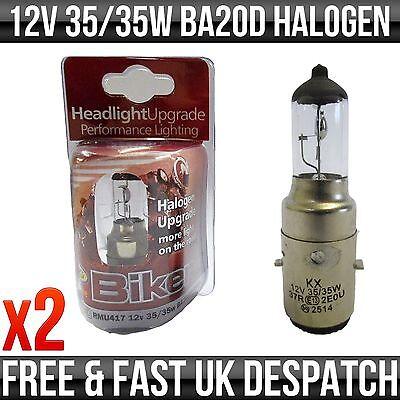 SCOOTER 12V 35/35W BA20D H1 HALOGEN UPGRADE BULB *PACK OF 2*