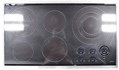 Wolf Ct36e S 36 Electric Cooktop 5 Heating Elements Black With Stainless Trim