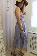 Monsoon Summer Bohemian Embroidered Folk Lagenlook Comfy Boho Sun Pocket Dress L