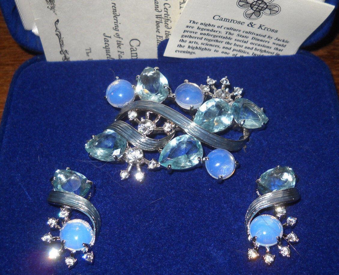 Campink & Kross Jacqueline Kennedy Morning Mist Pierced Earrings & Brooch