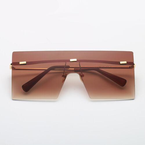 Square Rimless Sunglasses Women Men Retro Fashion Metal Glasses Oversized Shades