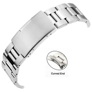 Stainless-Steel-Watch-Strap-Curved-End-Silver-Link-Band-Bracelet-18-20-22-24mm