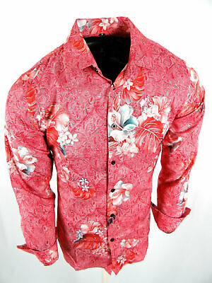 Mens Premier Shirt Pink Florals Gold Foil Highlights Silky Stretch Button Up