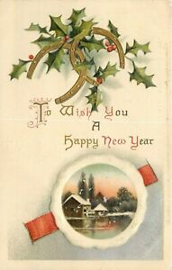 DB-Postcard-E453-Embossed-Happy-New-Year-Horseshoes-Good-Luck-Cottage-Germany