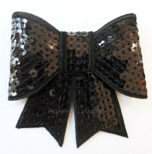 2 SEQUIN BOWS approx 75mm wide crafts headbands - CHOOSE COLOUR UK 3 INCHES