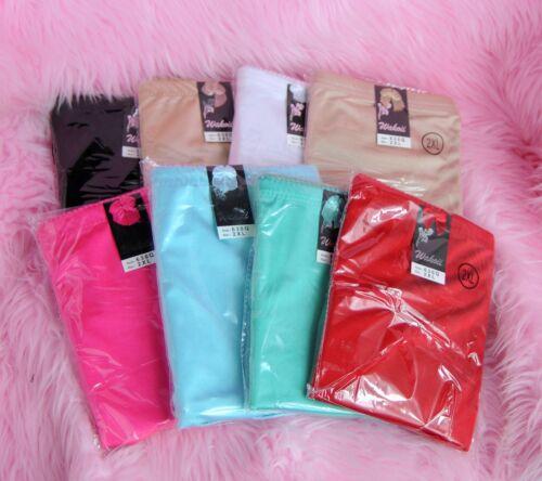 Wakoii HIGH CUT soft SATIN NYLON sissy many colors slimming brief panties 2X-5X