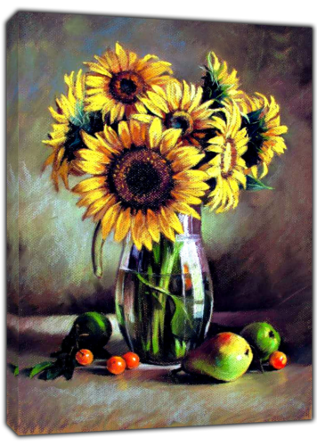 SUNFLOWERS AND FRUITS DRAWN CHARCOAL SOFT PASTEL PRINT ON FRAMED CANVAS DECOR