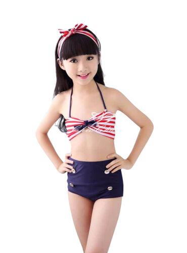 UK SELLER Girls Swimsuit 3 Piece Stripe Bikini Set with Bow Headband Swimwear