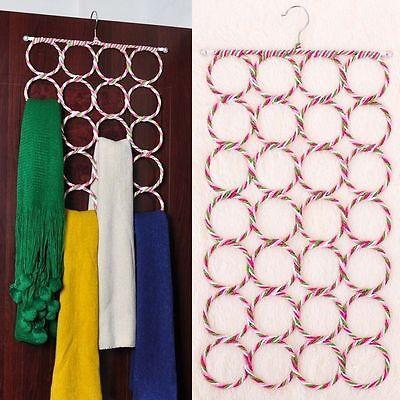 1x 28 Ring Hole Clothes Tie Belt Shawl Scarf Hanger Holder Closet Organizer Hook