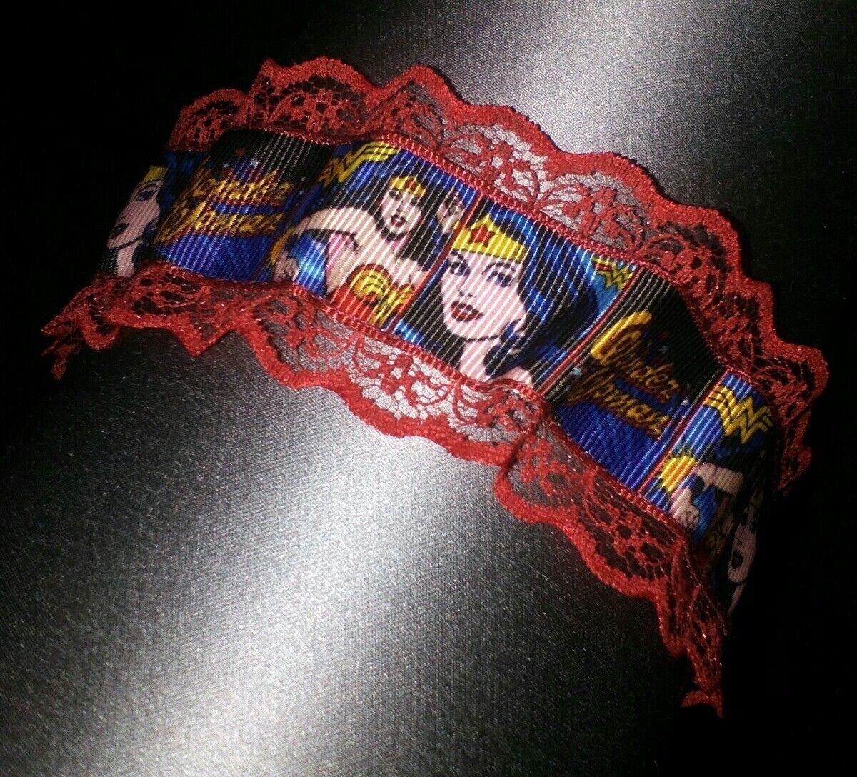 Wonder woman wedding burlesque garter red lace new garter superhero