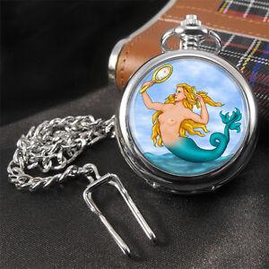 Mermaid-Sirene-Meerjungfrau-Taschenuhr