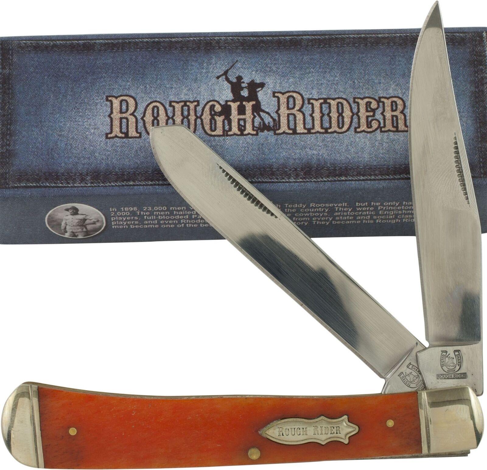 Rough Rider Orange Trapper Folding Pocket Knife RR22034BN Smooth Bone Handles