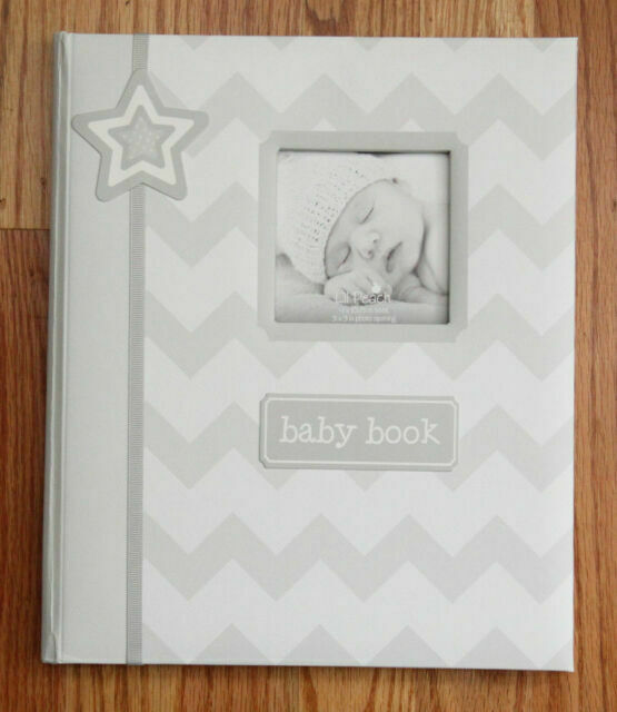 Pearhead Chevron Baby Photo Album Gray Gray Chevron