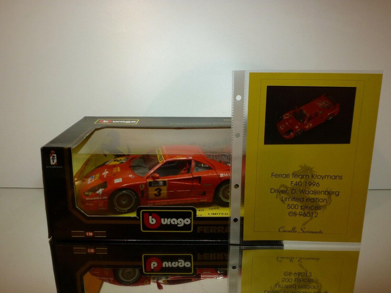 BBURAGO CAVALLO SCRIMANTE FERRARI F40  3 1996 - rouge 1 18 - RARE SPECIAL MADE