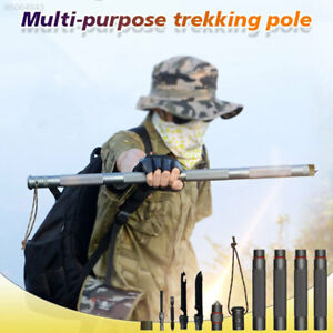 Survival-Multifunction-Tactical-Stick-Walking-Cane-Trekking-Pole-Alpenstock-USE
