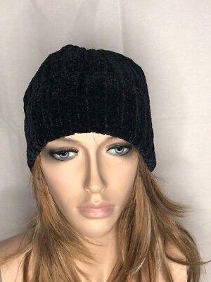 Women/'s NWT Charter Club Black Beanie Chenille Shaker Cuff Winter Hat One Size