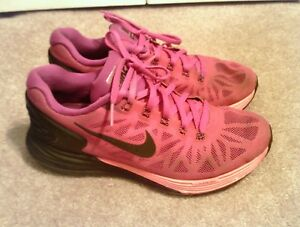 low priced fbad6 69ce5 Image is loading Nike-Lunarglide-6-VI-Fuchsia-Black-Pink-Womens-