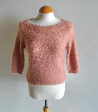 Ladies Miss Selfridge Dusky Rose Pink Fluffy Knit 3/4 Sleeve Jumper Fitted 6 UK