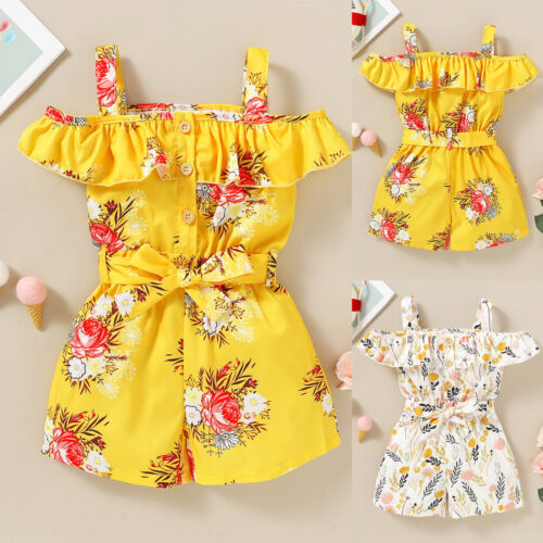 Toddler Kids Girls Summer Floral Jumpsuit Ruffle Bowknot Romper Outfit 1-4 Years