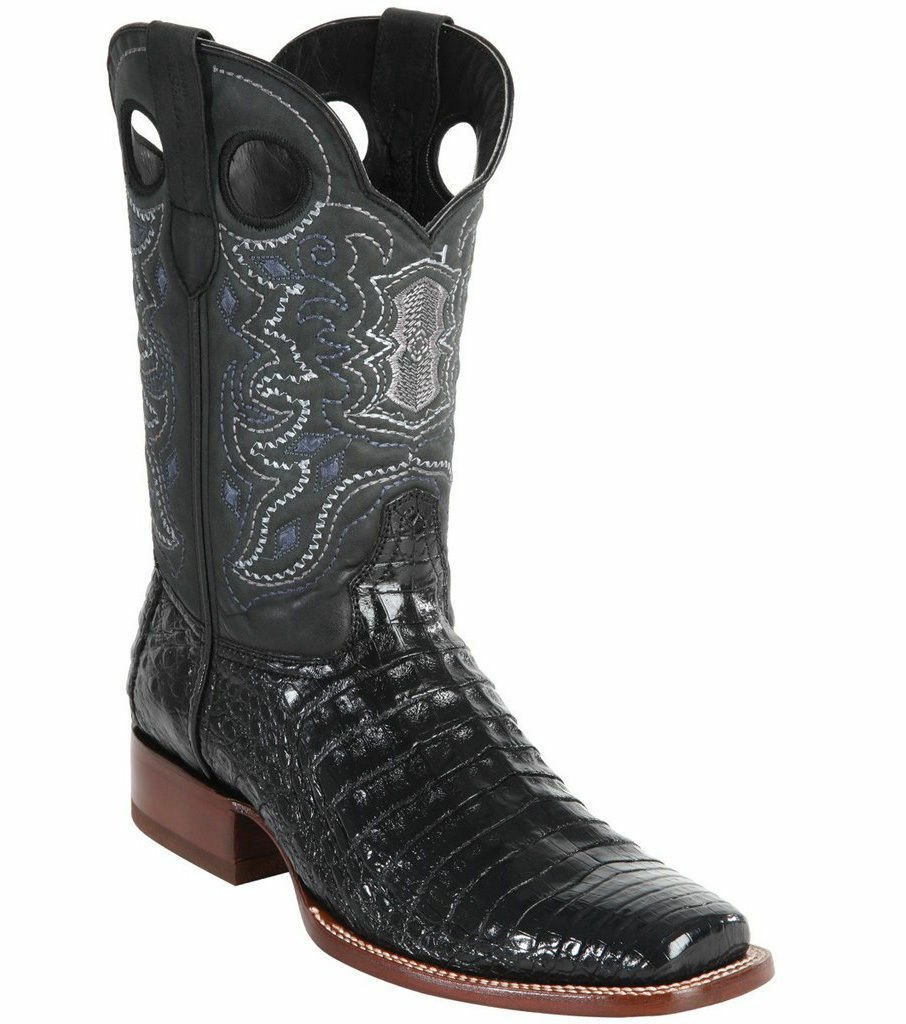 WILD WEST nero CROCODILE BELLY COWBOY avvio RODEO-SQUARE-TOE (EE)