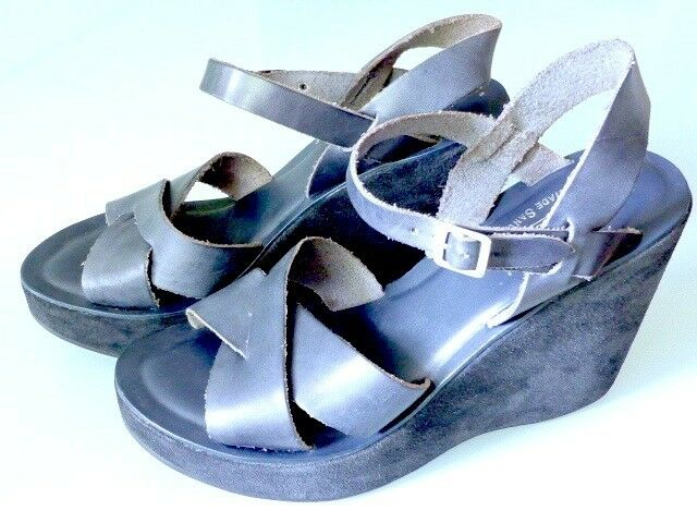 Corcho-ease Bette the original Handmade-plataforma/wedge sandals, azul 41 casi nuevo