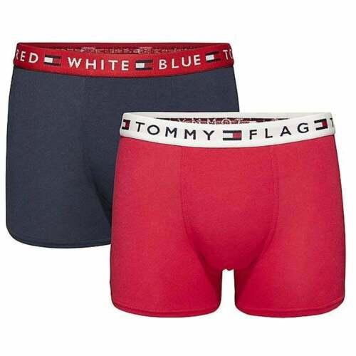 Tango Red Tommy Hilfiger Boys 2 Pack REMIX Boxer Trunk Navy Blazer