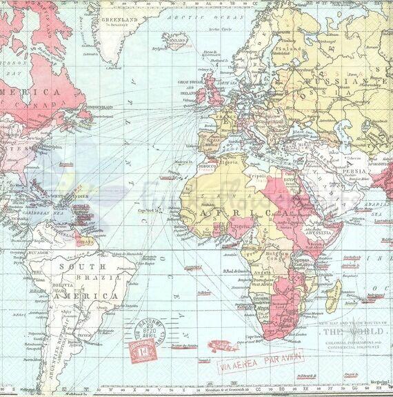 "WORLD MAP BLUE PINK GREEN 3 PLY 20 PAPER NAPKINS SERVIETTES 13""x13"