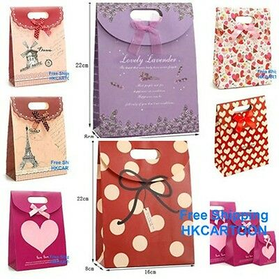 Colorful Lovely Bowknot  22 x 16CM Gift Paper Bag Party Stick Handle Bag