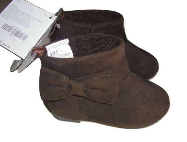 Gymboree Girls Brown Suede Ankle Fashion Boots Bow 5 8 NWT