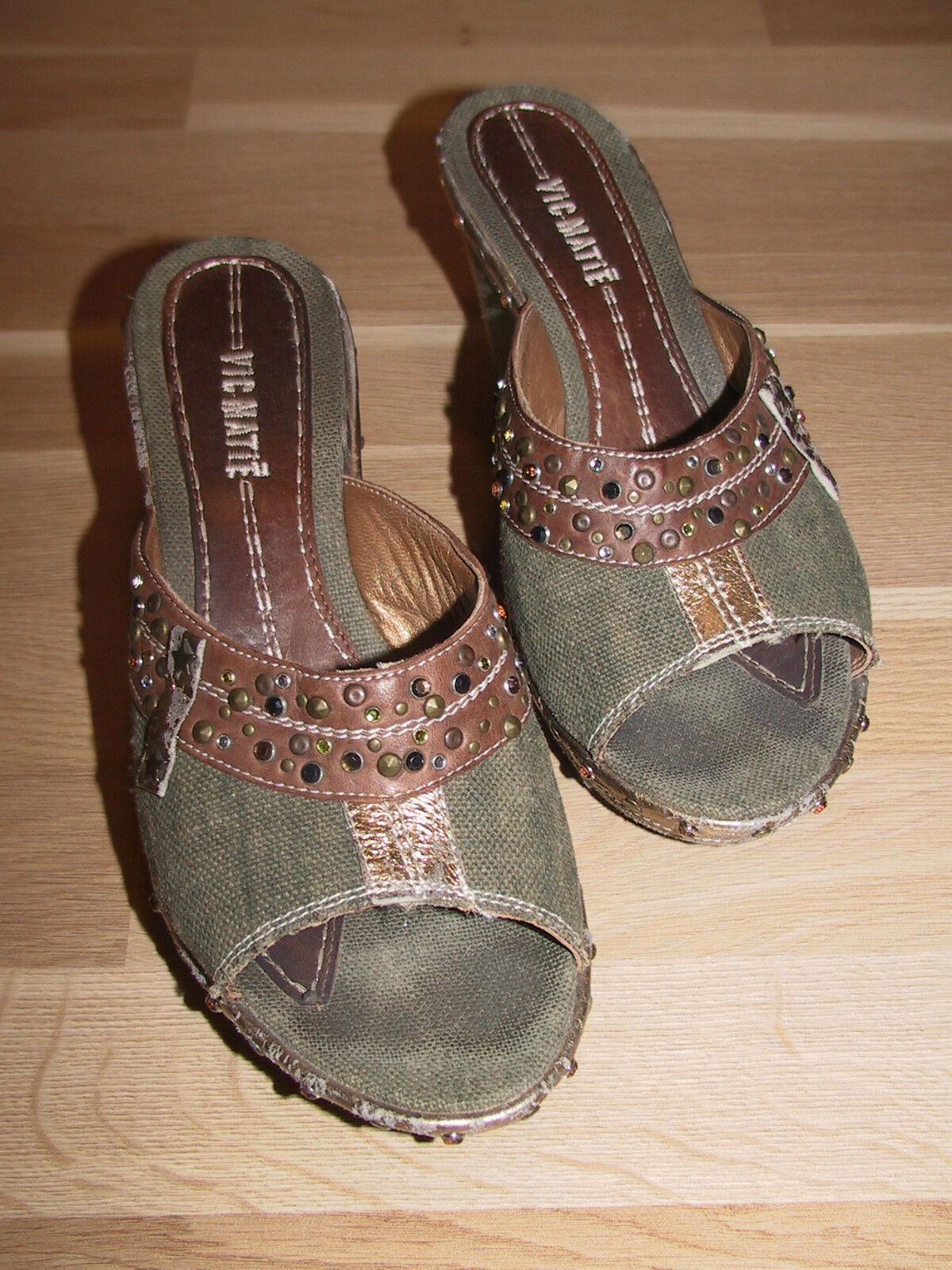 VIC MATIE Wedges Keil Sandale Pumps grün braun Gr 39 Strass Leder Textil schöön