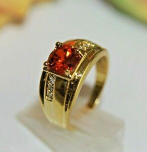 Details zu Damen Herren Ring Gold 18 K GF (750) Rubin Granat rot Zirkon Gr. 58 Ø18,4mm