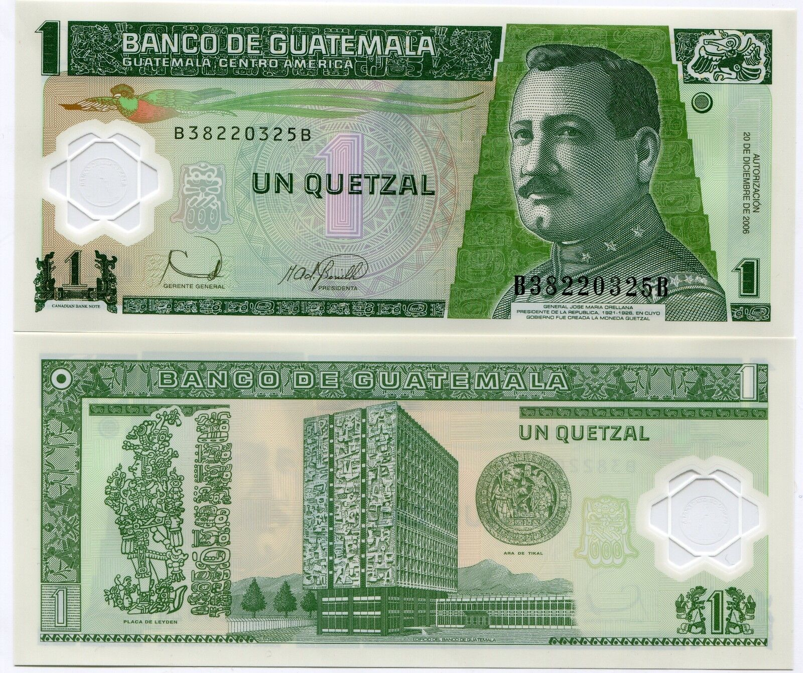 2006 P109 1 Quetzal Polymer Money Unc