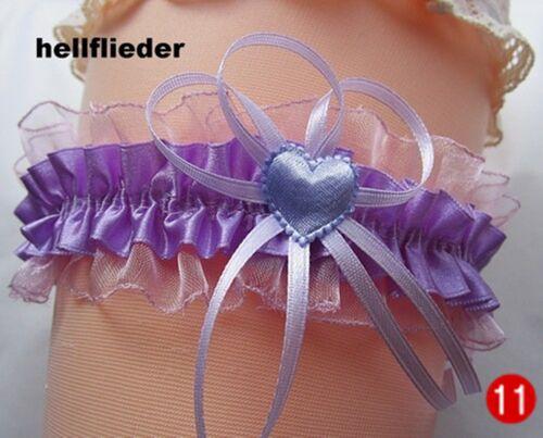 Jarretière Motif Lilas Violet Noir Gothique Mariée Mariage Rose Coeur Perle UE