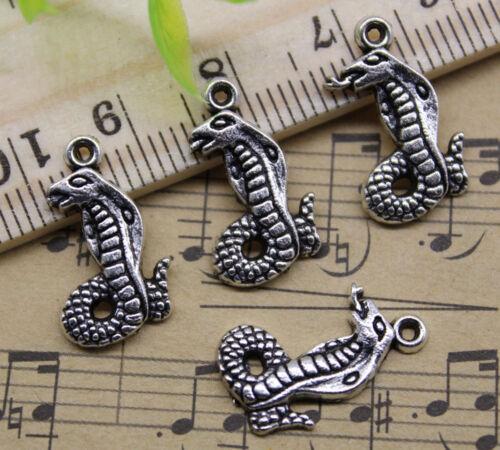 30 ~ 100pcs Jewelry Making À faire soi-même King Cobra Alliage Charme Pendentif 17x10mm