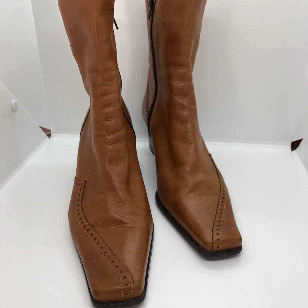 Elastomere tan leather zip up boots square toe  - image 3