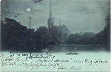 Leipzig, Lutherkirche, Mondschein-AK, 1897