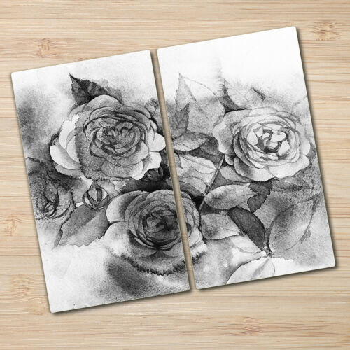 Details about  /Tempered Glass Worktop Saver Kitchen Black And White Roses Bouquet 2x30x52