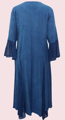 Nouveau Eaonplus antique-brodé bleu corsage bell manche robe taille uk 18 à 32